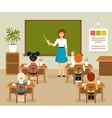 Classroom with teacher and students vector image vector image