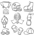 collection sport equipment doodle style vector image vector image