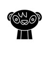 cute panda black icon sign on isolated vector image