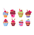 different delicious muffins set vector image