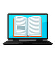 digital library concept laptop with open book e vector image vector image