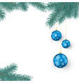 fir twigs and blue christmas balls with vector image