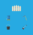 flat icon farm set of container cutter pail and vector image vector image