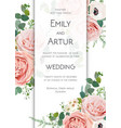 floral chic wedding invite card design blush peach vector image vector image