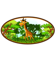 giraffe cartoon on forest background vector image vector image