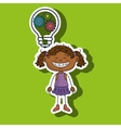 girl idea gears icon vector image