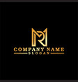 gold letter m and r vector image vector image