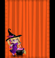 halloween template of witch baby girl with vector image