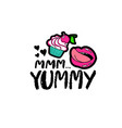 hand drawn lettering with cupcake vector image vector image