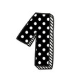 Hand drawn number 1 with white polka dots on black