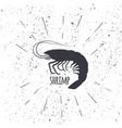hand drawn shrimp icon logo in black and white vector image vector image