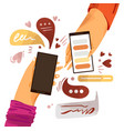 hand with phone cartoon vector image vector image