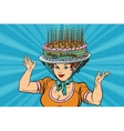 Happy birthday retro woman and the hat cake vector image vector image