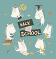 happy cartoon unicorns going back to school vector image vector image