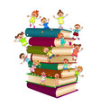 happy children on top of a stack of books vector image