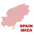ibiza island map - mosaic of lovely hearts vector image vector image