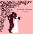 invitation card with the bride and groom on a vector image vector image