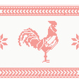 Knitted Rooster Seamless Pattern in Red Color vector image