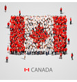 large group of people in the canada flag shape vector image