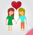 Love marriage couple of two womengirls and red vector image