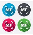 Manual focus photo camera sign icon MF Settings vector image vector image