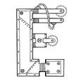 mechanical letter e engraving vector image vector image