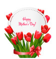 mother day background with red flowers and ribbon vector image