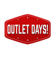 outlet days label or sticker vector image vector image