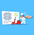 pizza delivery emblem concept chef cook hold box vector image vector image