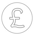 pound sterling icon black color in circle vector image vector image