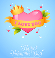 Romantic heart with ribbon crown vector image