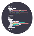 round icon program code structure html vector image vector image