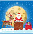 santa claus with bag with gifts in house chimney vector image vector image