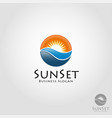 sea sunset - stylish sunset logo with circle vector image