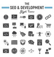 seo and development glyph icon set business signs vector image vector image