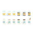 set coffee in paper and plastic cup can vector image vector image