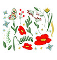 set flowers embroidery elements vector image vector image