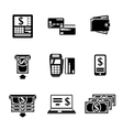 Set of ATM monochrome icons with - ATM cards vector image vector image