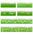 set of garden flowers in grass vector image