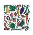 set of vegetables doodle composition vector image