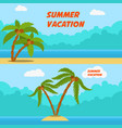 summer vacation set of cartoon style banners with vector image