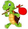 Turtle traveling cartoon vector image vector image
