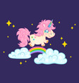unicorn with rainbow and stars vector image vector image