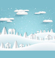 winter paper origami landscape with house vector image