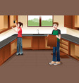 young couple installing kitchen cabinets vector image vector image