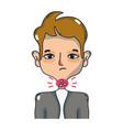 man with sore throat sickness virus vector image