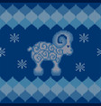 blue knitted background with sheep vector image