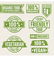Set of bright green labels and logo Natural eco vector image