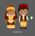 algerians in national dress with a flag vector image vector image