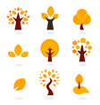 Autumn trees icons isolated on white - orange vector image